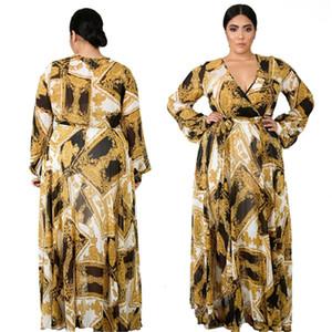 Plus Size Women Dresses Luxury Golden Printed Sexy Slim Maxi Long Sleeved V-Neck Dresses Fashion Women Party Dresses