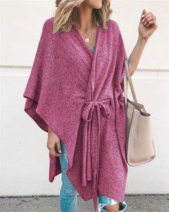 Kadın Tasarımcı V Yaka Capes Moda Renkleri Batwing Kol Hırka Cape Kayışlı Casual Yıkanma Fular