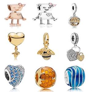925 стерлингового серебра стиль Bella Robot Charm Pink Gold Эмаль бисера Подходит Пандоры браслет DIY для женщин вспомогательного оборудования ювелирных изделий