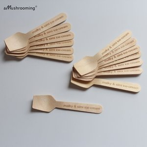 custom engraved food grade mini wooden spoons for ice cream party wedding bridal shower favors first communion table decoration