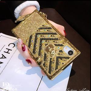 Mytoto moda marca europeia diamantes quadrados glitter bling capa case para iphone 6s 7 8 plus xs XS XR Max cordão telefone mulher suave cou