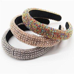 Baroque Full Crystal Headbands Hair Bands for Women Lady Shiny Padded Diamond Headband Hair Hoop Fashion Party Jewelry Accessories .