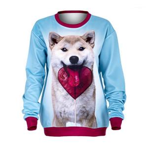 개와 사랑 인쇄 여성 후드 패션 여성 의류 3D 인쇄 Deisigner 여자 스웨터 O 목 긴 소매