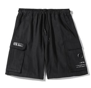 acción lista para hombre del verano sobre los pantalones cortos hasta la rodilla Pantalones Moda 2 colores impresos con cordón cortocircuitos Relajado Homme Ocio pantalón K320
