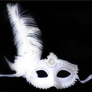 Sexy frauen Maske weiße Feder Blume Hochzeit Karneval Party Leistung Lila Kostüm Sex Lady Mask Maskerade
