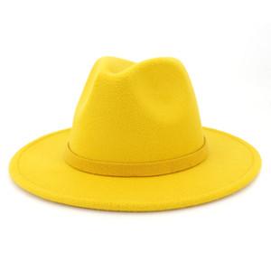 2019 outono e inverno cor sólida abidou chapéu de viagem Cap Fedoras jazz chapéu panama chapéus para mulheres e menina 25