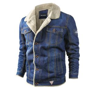 Mens Fashion Denim Vestes bref épais Oversize Saisons Manteaux Lapel Neck effiloché Vintage Pocket Homme vêtements de la rue