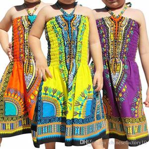 Девушка Beach Dress Южная Африка Этнические Холтер Платья С Плеча Новый 2019 5 Цветов Дети Размер 2-7 Т