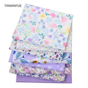 TIANXINYUE sarga tela de algodón Patchwork púrpura Floral tejido tela acolchado costura BabyChildren hojas vestido Material