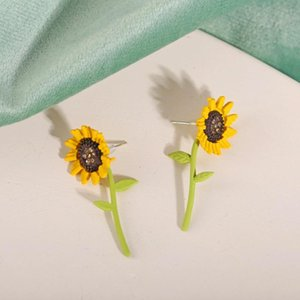 Harajuku Style Earrings Fashion Jewelry with Sunflower Pattern Stud Earring for Women Summer Gift