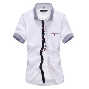 LEFT ROM 2019 Fashion Male summer High-grade pure cotton Short sleeve shirts Men's breathable lapel Casual shirts 4XL 5XL