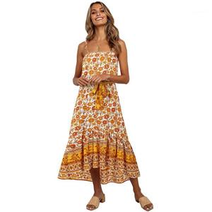 Sleeveless Dresses Women Clothing Womens Bohemian Dresses Fashion Floral Pattern Natural Color Dresses Casual Slash Neck
