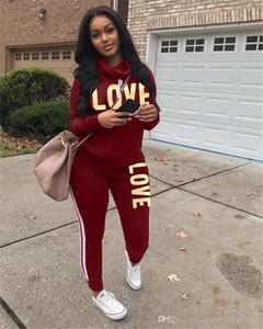 AŞK 2 Adet Bayan eşofman Uzun Kollu Cowl Boyun Mektupları Baskılı Bayanlar Günlük Spor Suits Relaxed Bayan Giyim Çoktan seçmeli Suit