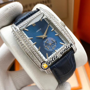 New Gondolo 5124G-011 Steel Case Diamond Bezel White Inner Blue Dial Automatic Mens Watch Blue Leather Strap Sports Watches Hello_Watch E134