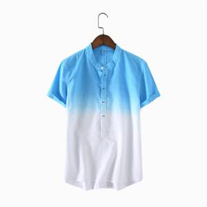 Mens Pullover lino remiendo del collar del mandarín de manga corta de los hombres de calidad ocasionales adelgazan las camisas de algodón masculino TS-351