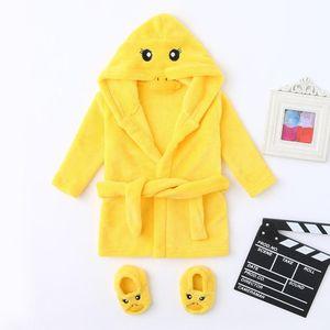 Cartoon Children's Robe Flannel Baby Bathrobe Long Sleeve Hooded Kids Bath Robe Lovely Animal Boy Girls Robes+shoe @A Y200704