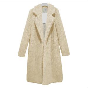 Sólida Casaco de Teddy Casaco de Inverno Das Mulheres de Lã Comprida Casacos E Jaquetas Manteau Femme Hiver Abrigos Mujer Elegante Cappotto Donna WT026