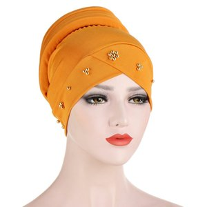 Women Muslim Scarf Hat Solid Color Beading Hijab Turban Hat Lady Cotton Cover Inner Hijab Cap Islamic Head Wear Hat Under Scarf
