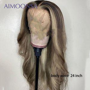 Ombre Sarışın Saç Dantel Ön Humen Saç Peruk Vücut Dalga 13 × 6 Dantel Açık Peruk Renkli% 130 Yoğunluk Peruk Brezilyalı Remy Aimoonsa
