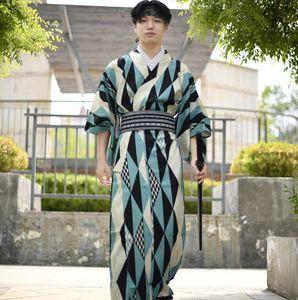 Geleneksel Japonya Konfeksiyon erkekler Standard kimono Polyester Blend Pamuk bornoz Tokyo Pijama resmi kıvılcım konferans Erkek kimono