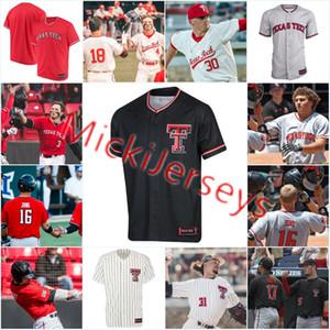 NCAA encargo de Texas Tech Red Raiders Jersey de béisbol de Cody Farhat Michael Davis subvención pequeño Brian Klein Josh Jung En busca jersey rojo TTU