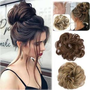 Rizado pieza sucia Moño Updo extensiones de pelo de la cubierta banda para el cabello real como humano peluca caliente Anillo Obtener Más Vogue Bun