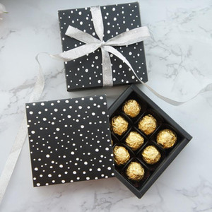 13.1*13.1*3.5cm black white dot theme 10 set Chocolate Paper Box valentine Christmas Birthday Gifts Packing Storage Boxes