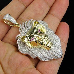 10K 옐로우 골드 사자 머리 왕 펜던트 자연 화이트 사파이어 다이아몬드 목걸이 남자의 개성 보석 남자 친구의 생일 선물