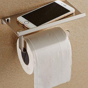 tas Accessoires Sets de bain Set papier toilette Support téléphone avec papier en acier inoxydable Porte-Shelf tissus Boîtes de bain téléphones mobiles ...