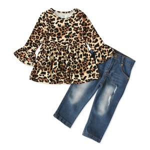 2PCS Kid Baby Girl Clothes Sets 2-7Y Ruffle Sleeve Leopard Print Tops +Jeans Denim Pants Summer Clothes Sets