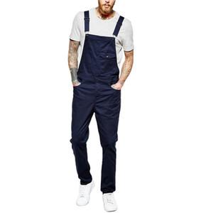 Newest Arrival Men Casual Bib Overalls Solid Color Jumpsuit Jeans Suspender Pants Streetwear Outfits Plus Size S-3XL