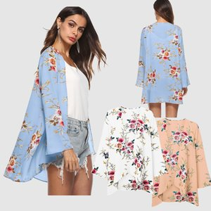 New Sunscreen Tops Loose Mid-length Printed Cardigan 3 4 Sleeves Fashion Street Style Thin Section Jacket Capless Casual S-XXL