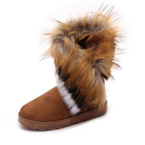 MCCKLE Stivali da neve per donna Plus Size Faux Fur Stivaletti invernali Appartamenti per cucire Calzature per calzature Comfort femminile Calzature Drop Shipping