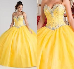 Linda princesa Amarelo Quinceanera Dresses frisados Crystal Ball Vestidos 2020 vestidos doce 16 Traje de 15 anos baratos Debutante