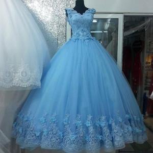 Light Blue 3d Flowers Quinceanera Dresses Vestidos De Festia 2020 V-neck Floral Lace Ball Gowns Prom Sweet 16 Dress Plus Size Custom Made