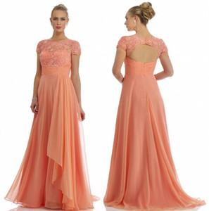 Por encargo de la madre del resorte de la longitud de los vestidos de novia Beads Collection tripulación de manga corta de suelo sin espalda vestido de alta calidad de la tarde