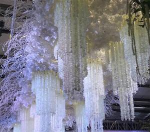 100cm (39inch) Lange elegante Kunstseide-Blumen Glyzinierebe Rattan für Hochzeit Mittelstücke Dekorationen Bouquet Garland Startseite Ornament