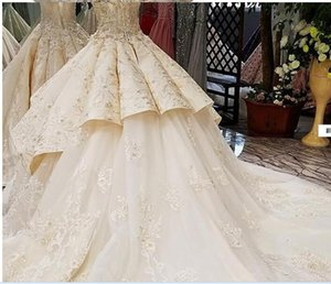 01Sleeveless Vintage Luxury Bridal Train Wedding Dress 2018 Off Shoulder Sexy High-end Custom Wedding Gown Real Photo
