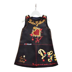 Einzelhandel 2019 Mädchen kleiden Sommer Ärmel Valentinstag Love Heart Printed A-Linie Prinzessin Dress Babykleider Kinder Designer-Kleidung