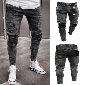 Erkek desiner Jeans Kar Gri Spark Draped Yıkanmış Uzun Kalem Pantolon Moda Elastik Diz Delikler Fermuar Jeans