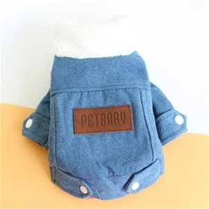 Botón calentar Espesar perros Ropa felpa suave perrito de algodón acolchado ropa de vaquero abrigos de diseño de moda Mascotas Ropa 18jz H1