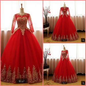 Vestido de Noiva 2019 Красное шариковое платье свадебное платье с длинным рукавом Аппликации с бисером Аппликации свадебные платья полые задние сексуальные дешевые платья невесты горячие продажи