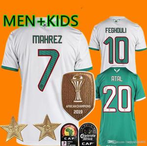ÇOCUKLAR MEN Şampiyonu Maillot Algerie Yeni 2 Yıldız Futbol Forma 2019 Deplasman Mahrez BOUNEDJAH Feghouli BENNACER ATAL Cezayir Maillot de Ayak