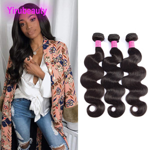Pelo humano Malasia Wholesale onda del cuerpo 3 pedazos / lote Yirubicey Free Double Weft Body Wave Three Bundles Color natural