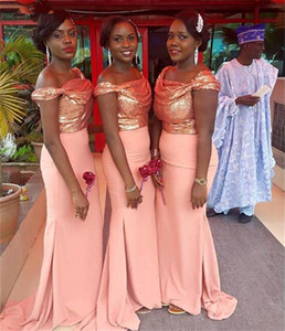 Blush Pink Sequins Beach Bridesmaid Dresses 2019 Sparkly Off Shoulder African Mermaid Party Junior Wedding Guest Gown