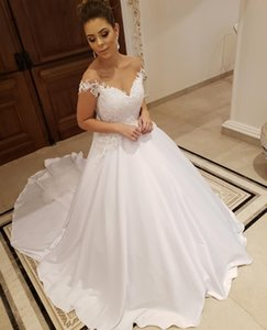 Luxury Off Shoulder Wedding Dresses Beads Crystals Appliques Bridal Gowns Court Train Satin A Line Customize Wedding Dress