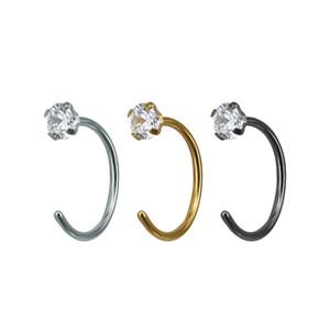 Crystal Clear gemma del cerchio dell'anello di naso anello dell'acciaio inossidabile naso penetrante ornamento zircone semplice chiodo dell'orecchio monili del corpo ornamento 20G