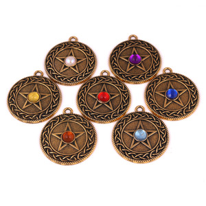 HL0098 Trade assurance Retro Nordic Viking five pointed Star Pendant colorful diamonds fashion new design amulet charm religious jewelry