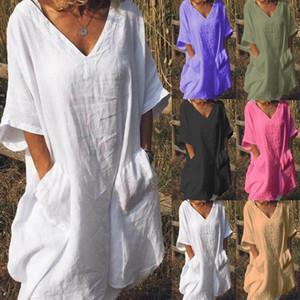 Boho Womens Summer Sundress Ladies Loose Casual Beach Dress Shirt Plus Size