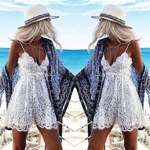 المرأة مثير صيف بلا أكمام الرباط مساء حزب كوكتيل قصيرة حللا البسيطة Playsuits الأبيض